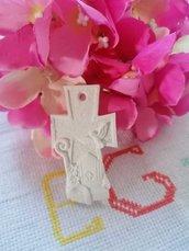 Icona cresima su croce gesso ceramico profumato per fai da te