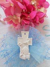 Croce con icona cresima in gesso ceramico profumato su doppio velo rete