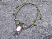 Collana macramè con pietra di fiume e unakite