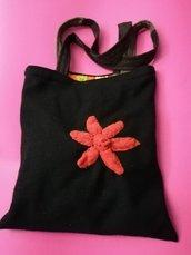 borsa shopper in panno di lana nero, bennibag Paulì fiiore d'arancio