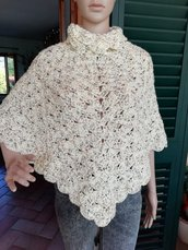 Poncho in lana rweed color panna