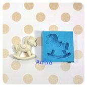 Stampo in silicone cavallo a dondolo per decorazioni bomboniere battesimo nascita gessetti profumati per resina pasta di mais