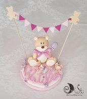 Cake topper orsetto e dolcetti con bandierine e palloncino bimba