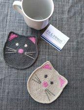 Sottotazze uncinetto a forma di gatto / centrini sottotazze / sottotazze gattino