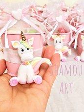 Bomboniere unicorno bimbo colori pastello arcobaleno con secchiello in latta