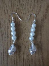 Orecchini bianchi e argento 925