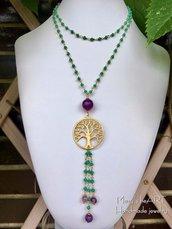 Collana lunga a rosario con ciondolo albero della vita e pietre dure