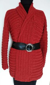 Cardigan donna rosso rame