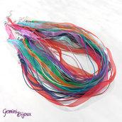 Base per collana colorata, organza e cotone con moschettone e catenella