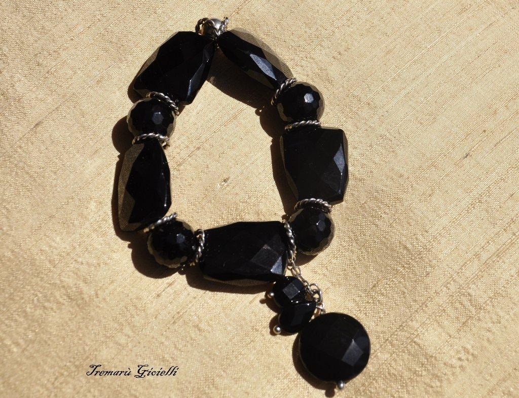 Bracciale onice nero sfaccettato/Bracelet black onyx