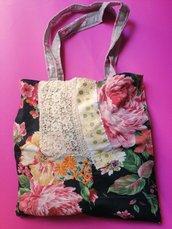 Borsa shopper nera a fiori rosa, bennibag Tecla