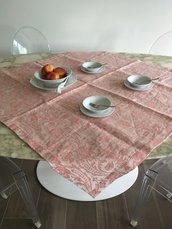 Tovaglia quadrata damascata, tovaglia lino beige e rosa