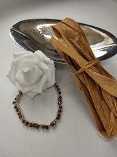 Girocollo donna collarino donna cristalli marroni collana fatta a mano collana uncinetto fatta a mano