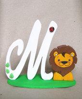 Cake topper lettera Iniziale Nome in legno con Leone personalizzabile