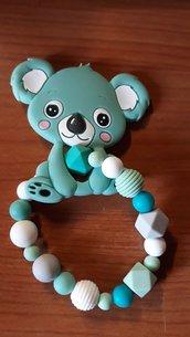 catenella portaciuccio massaggiagengive silicone baby braccialetto koala