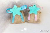 Bomboniere stelle ricamate in fimo, ideali anche per il primo compleanno per bimba o bimbo.