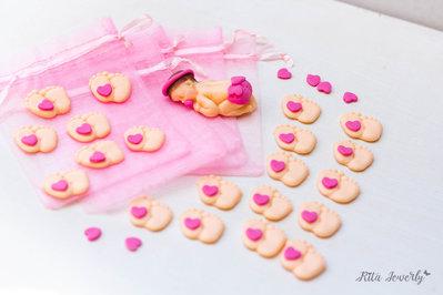 bomboniere piedini in fimo, bomboniere primo compleanno per bimba o bimbo, personalizzabile