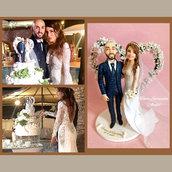 Cake topper sposi personalizzato in porcellana fredda