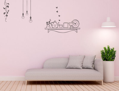 Composizione adesivi mensola pianta lampadine arredi murali