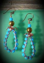 Orecchini pendenti in filo di rame e perline turchese VERSIONE 2, fatti a mano