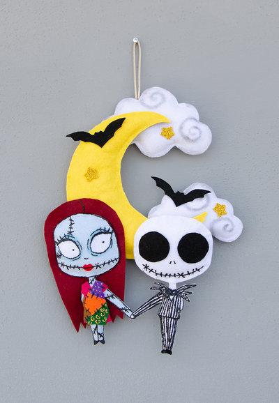 Decorazione di Halloween con Jack e Sally, 34 x 22 cm