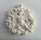stampo silicone angelo con rose gessetti fimo resina matrimonio compleanno battesimo comunione cresima