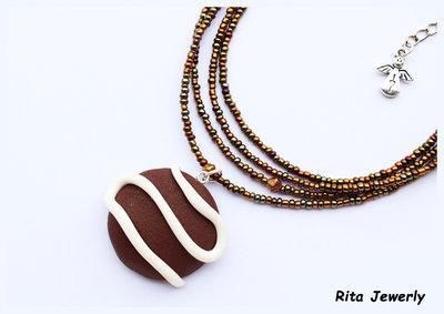 Collana biscotto fondente in fimo, Polymerclay cookie, kawaii, idee regalo, Biscotti cioccolato cookies, colazione,