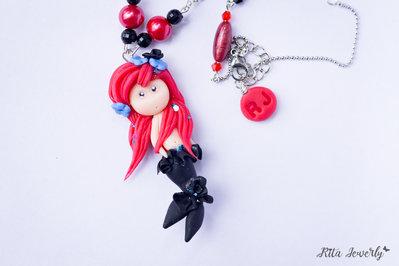 Collana sirena in fimo, collana estiva fimo, collana fimo kawaii, collana doll, doll, idee regalo, fatto a mano,