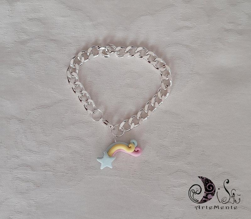 Bracciale con ciondolo stella arcobaleno personalizzabile idea regalo
