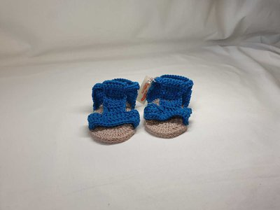 Sandalini di cotone blu elettrico.