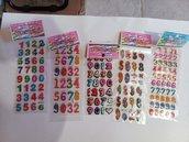 FINE SERIE sticker adesivi in rilievo numeri cartoncino gomma crepla decorazioni