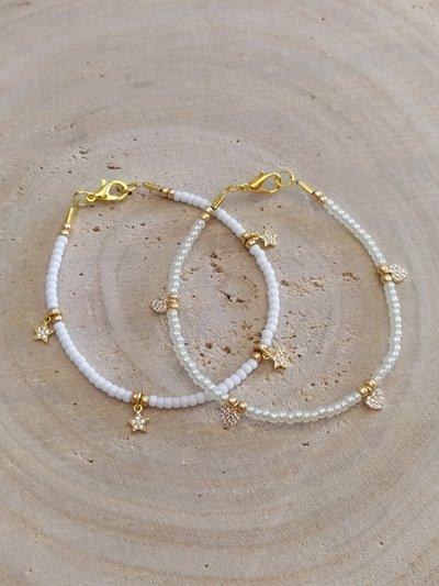 Bracciale con perline e ciondoli cuori/stelle