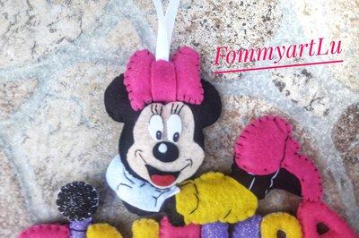 Banner nome Minnie in pannolenci per cameretta,  regalo nascita, compleanno