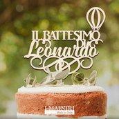 Cake topper BATTESIMO CON MONGOLFIERA personalizzabile con nome - I Maestri Made in Italy