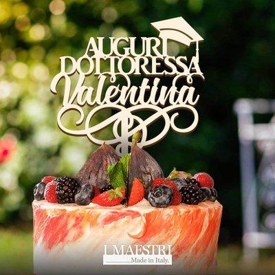 Cake topper LAUREA personalizzabile con nome e con tocco - I Maestri Made in Italy