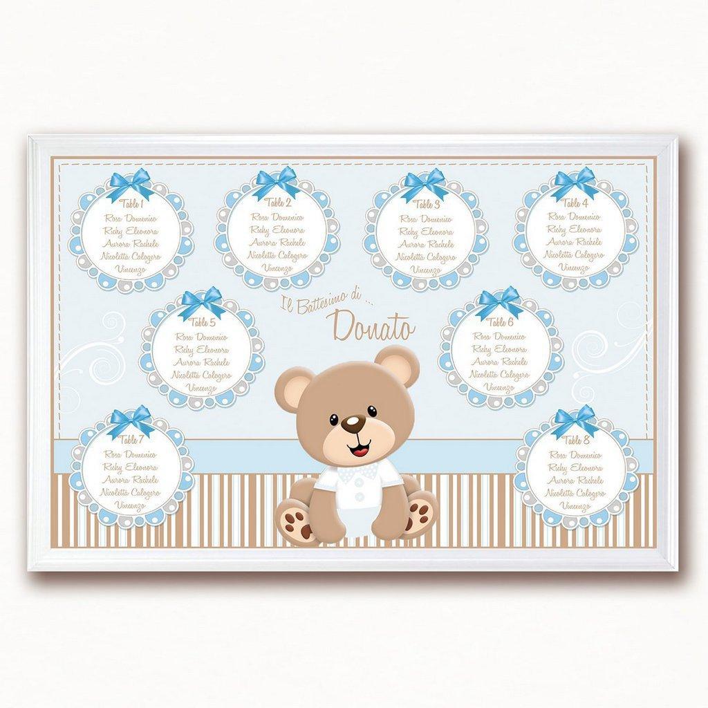 Tableau orsetto battesimo nascita compleanno personalizzato completo di segnatavoli