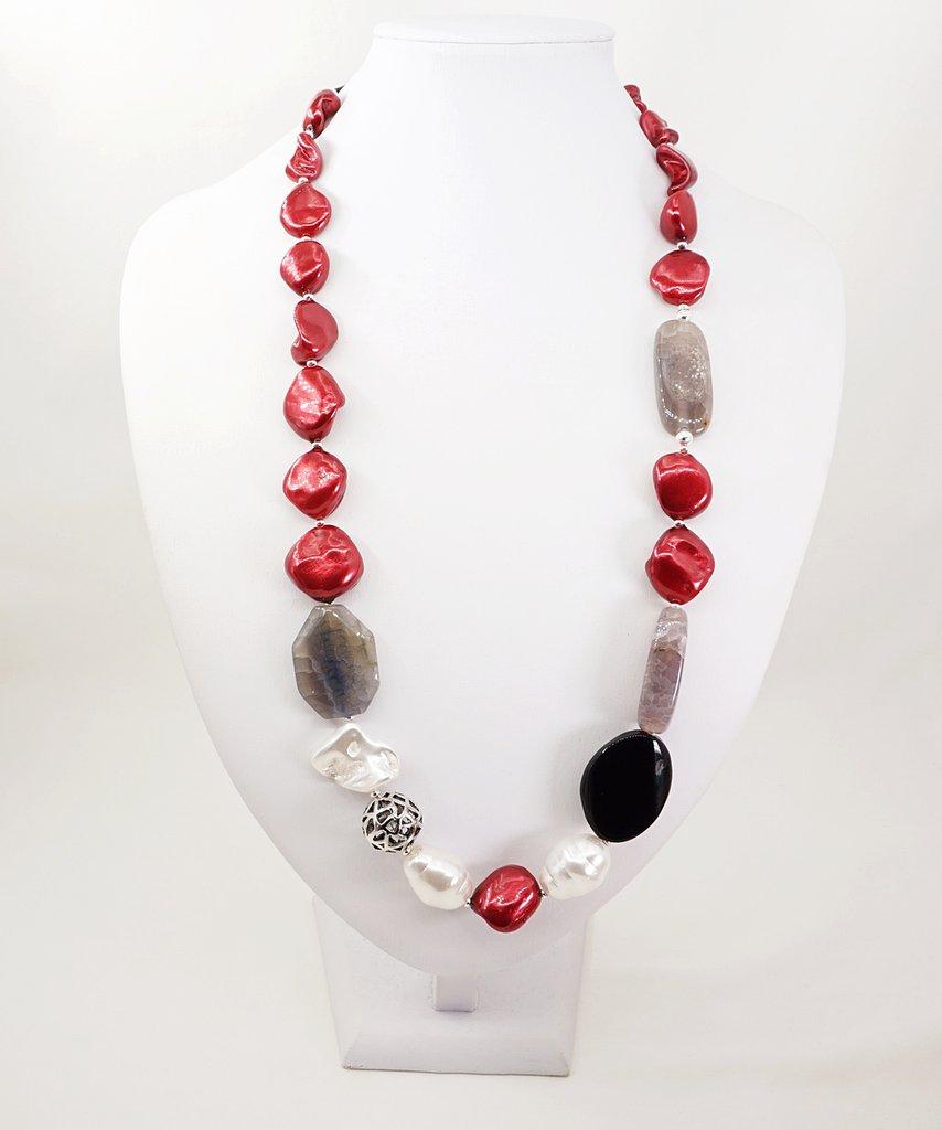 collana perle barocche di Maiorca rosse e pietre dure agata colorata vijoux handmade