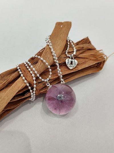 Collana donna lunga collana con ciondolo sfere botaniche ortensia viola collana pallini ciondolo fatto a mano