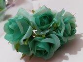 set 10 roselline tiffany in tessuto fiori decorazioni bomboniere sacchettini fai da te