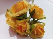 set 10 roselline arancio in tessuto fiori decorazioni bomboniere sacchettini fai da te