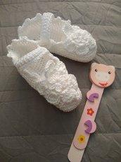 Scarpine uncinetto neonata bianche - regalo nascita - babbucce neonato - Mary Jane