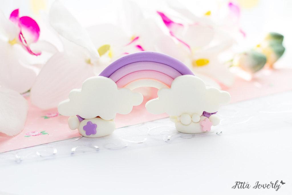 bomboniere compleanno fimo, Cake Topper bimba arcobaleno fimo, Cake Topper unicorno arcobaleno fimo, cake topper primo compleanno