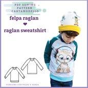 Cartamodello pdf felpa raglan bambino tg 2/3 anni a 13/14 con istruzioni