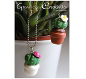 Collana cactus piantina grassa con fiore