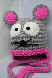 Cappellino neonato topino realizzato uncinetto lana baby