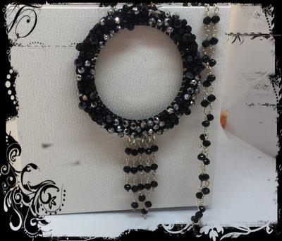 Collana con ciondolo cristalli nero/argento