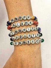 Bracciali elastici con pietre dure colorate e parole, umore, nome, personalizzati
