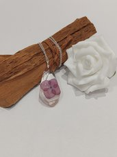 Collana argento donna ciondolo fiori resina fiore di ortensia viola ciondolo fatto a mano