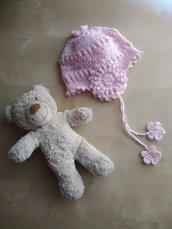 Cappellino neonata uncinetto, cuffia lana, berrettino con paraorecchie, rosa,regalo nascita,