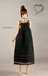 Abito in lino Nero per Momoko Doll